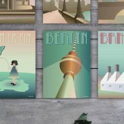 Berlin Kort Vissevasse Retro Plakat